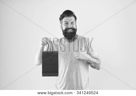 Pleasant Prices Here. Cyber Monday Concept. Little Pleasantness. Bearded Man Go Shopping. Store For