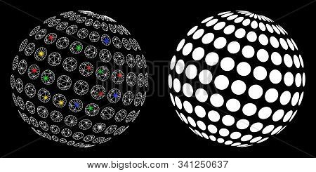 Flare Mesh Abstract Dotted Sphere Icon With Lightspot Effect. Abstract Illuminated Model Of Abstract