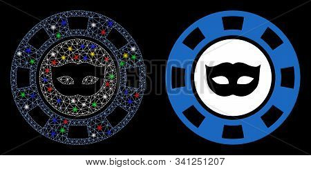 Glowing Mesh Anonymous Casino Chip Icon With Lightspot Effect. Abstract Illuminated Model Of Anonymo