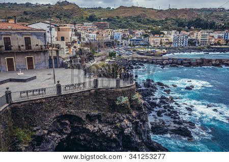 Aci Castello, Italy - May 4, 2019: Aci Castello Town On Sicily Island Seen From A Norman Castle