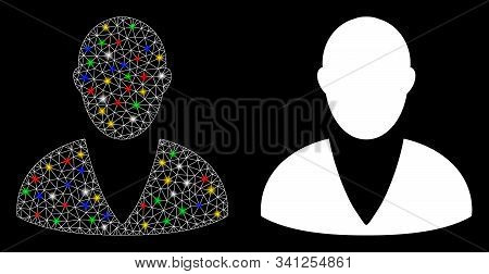 Glossy Mesh Client Icon With Glare Effect. Abstract Illuminated Model Of Client. Shiny Wire Carcass