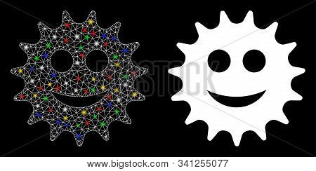 Glowing Mesh Cog Smile Icon With Glow Effect. Abstract Illuminated Model Of Cog Smile. Shiny Wire Fr
