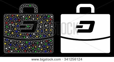 Bright Mesh Dash Accounting Case Icon With Glitter Effect. Abstract Illuminated Model Of Dash Accoun