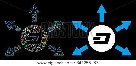 Glossy Mesh Dash Coin Payout Arrows Icon With Glare Effect. Abstract Illuminated Model Of Dash Coin