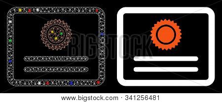 Flare Mesh Diploma Icon With Glitter Effect. Abstract Illuminated Model Of Diploma. Shiny Wire Carca
