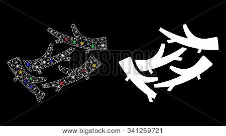 Glossy Mesh Firewood Icon With Glare Effect. Abstract Illuminated Model Of Firewood. Shiny Wire Carc