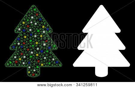 Glossy Mesh Fir-tree Icon With Sparkle Effect. Abstract Illuminated Model Of Fir-tree. Shiny Wire Fr