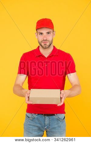 First Job. Guy Cashier Uniform. Restaurant Cafe Staff Wanted. Man Delivery Service Yellow Background
