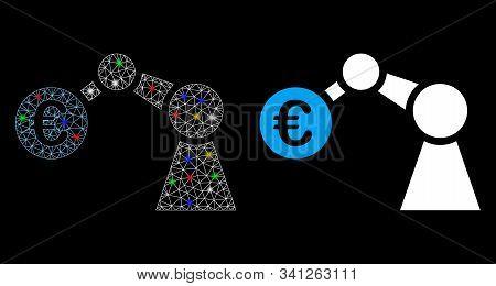 Glossy Mesh Manipulator Icon With Lightspot Effect. Abstract Illuminated Model Of Manipulator. Shiny
