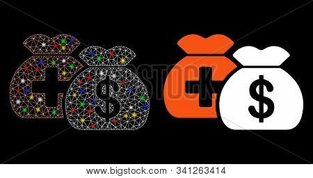 Glowing Mesh Medical Fund Bags Icon With Lightspot Effect. Abstract Illuminated Model Of Medical Fun