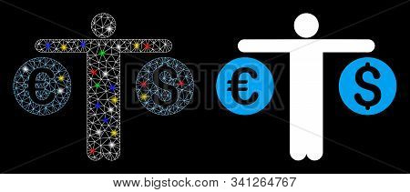 Glowing Mesh Person Compares Currency Icon With Glitter Effect. Abstract Illuminated Model Of Person