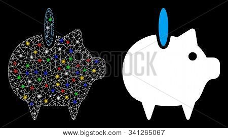 Glossy Mesh Piggy Bank Icon With Glare Effect. Abstract Illuminated Model Of Piggy Bank. Shiny Wire