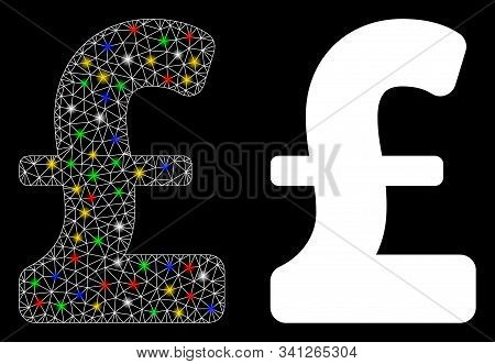 Glowing Mesh Pound Sterling Icon With Lightspot Effect. Abstract Illuminated Model Of Pound Sterling