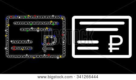 Glowing Mesh Rouble Cheque Icon With Glare Effect. Abstract Illuminated Model Of Rouble Cheque. Shin