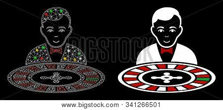Glowing Mesh Roulette Dealer Icon With Glitter Effect. Abstract Illuminated Model Of Roulette Dealer