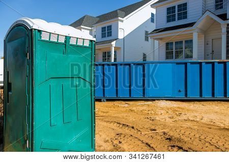 Portable Bio Toilet Cabins At The Construction On Removal Of Debris Construction Waste Building Demo
