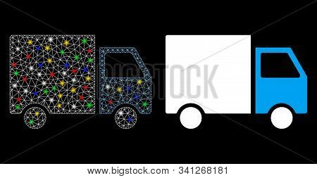 Glowing Mesh Shipment Van Icon With Sparkle Effect. Abstract Illuminated Model Of Shipment Van. Shin