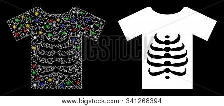 Glowing Mesh Skeleton T-shirt Icon With Glow Effect. Abstract Illuminated Model Of Skeleton T-shirt.