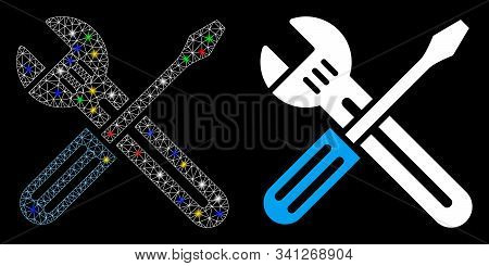 Glossy Mesh Spanner And Screwdriver Icon With Glare Effect. Abstract Illuminated Model Of Spanner An