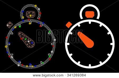 Bright Mesh Stopwatch Icon With Glitter Effect. Abstract Illuminated Model Of Stopwatch. Shiny Wire