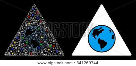 Glowing Mesh Terra Triangle Icon With Glow Effect. Abstract Illuminated Model Of Terra Triangle. Shi