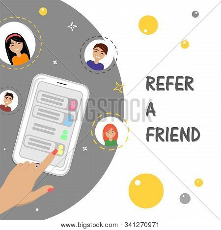 Refer A Friend Concept With Smartphone Man And Woman Icons. Vector Flat Illustration