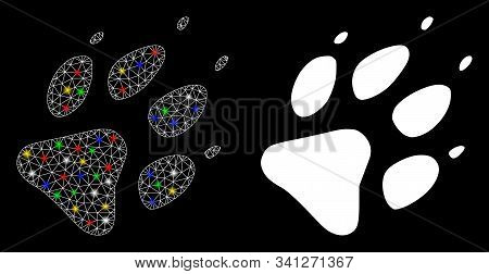 Flare Mesh Wolf Footprint Icon With Glow Effect. Abstract Illuminated Model Of Wolf Footprint. Shiny