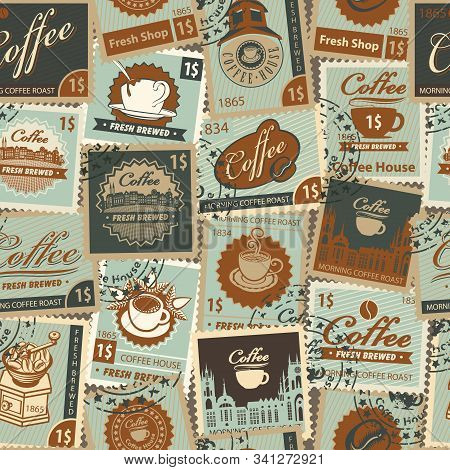 Vector Seamless Pattern On The Coffee And Coffee House Theme With Postage Stamps And Postmarks In Re