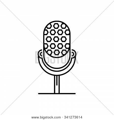 Black Line Icon For Microphone  Speaker  Mike Microphone