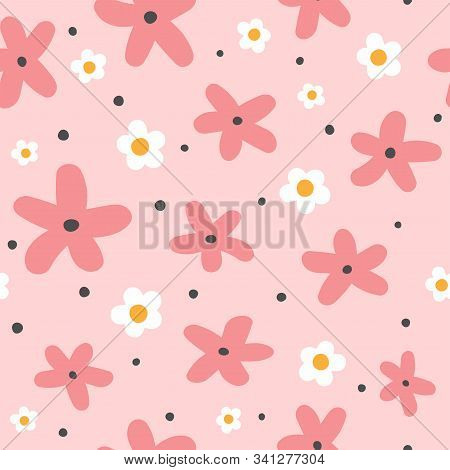 Cute Seamless Pattern With Flowers And Round Spots. Funny Floral Print. Girly Vector Illustration.