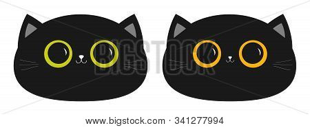 Black Cat Round Head Face Icon Set. Big Yellow And Green Eyes. Small Nose, Ears. Cute Funny Cartoon