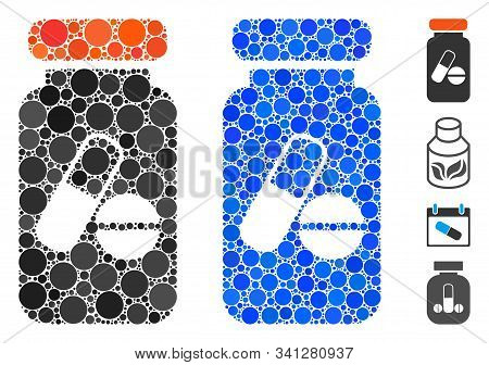Drugs Phial Mosaic Of Filled Circles In Variable Sizes And Color Hues, Based On Drugs Phial Icon. Ve