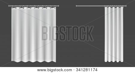 White Shower Curtains Isolated On Dark Background. Vector Realistic Mock Up Of Open And Closed Blank