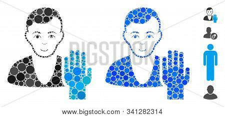 Elector Mosaic Of Filled Circles In Different Sizes And Color Tinges, Based On Elector Icon. Vector