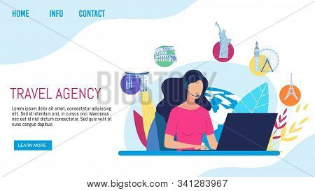 Travel Agency Clients Support, Call-center Or Helpline Service Trendy Flat Vector Web Banner, Landin