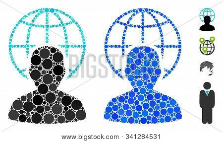 Global Governor Composition Of Filled Circles In Various Sizes And Shades, Based On Global Governor