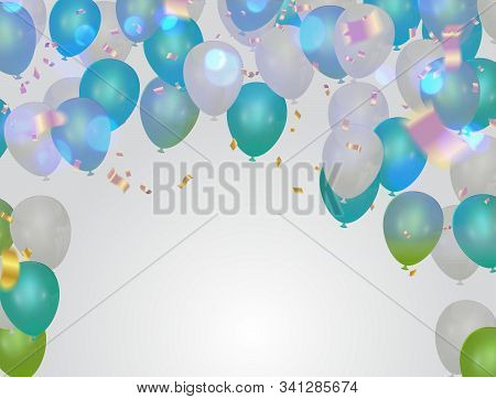 Festive Poster With Balloons And Serpentine. Holiday Decoration Vector Background.