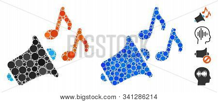 Music Horn Composition Of Round Dots In Different Sizes And Color Tints, Based On Music Horn Icon. V