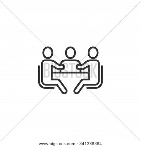 People With Table Icon In Flat Style. Teamwork Conference Vector Illustration On White Isolated Back