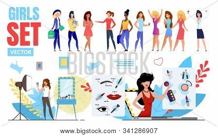 Fashionable Girls Trendy Flat Vector Multinational Characters Set. Happy Women, Female Student Stand