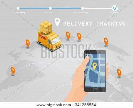 Delivery Global Tracking System Service Online Isometric Design With Truck, Boxes On Map Earth. Hand