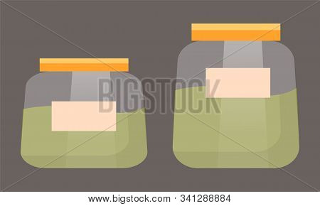 Transparent Glass Or Plastic Container With Label. Jars That Contains Green Liquid Or Matcha Tea. Tw