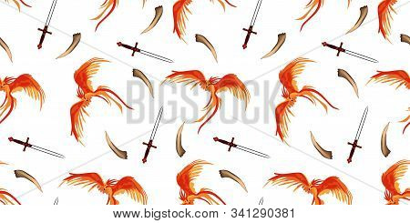 Phoenix. The Magic Phoenix. Harry Potter. Professor Dumbledores Bird. Seamless Pattern. Gryffindorfs