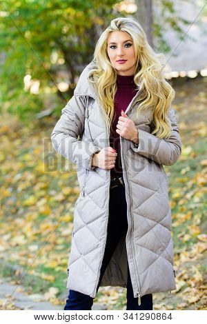 Oversized Jacket Trend. How To Rock Puffer Jacket Like Star. Puffer Fashion Trend Concept. Girl Fash