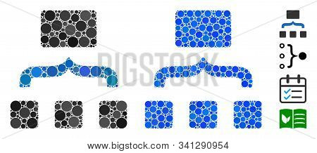 Combine Items Mosaic Of Round Dots In Various Sizes And Color Tints, Based On Combine Items Icon. Ve