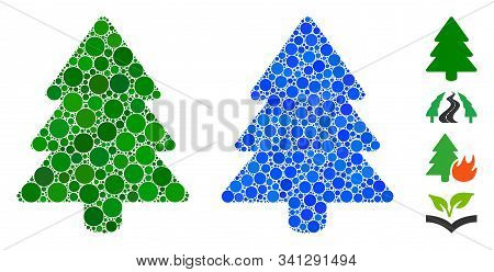 Fir-tree Mosaic Of Small Circles In Various Sizes And Color Tints, Based On Fir-tree Icon. Vector Sm
