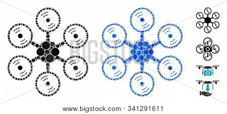 Multirotor Mosaic Of Filled Circles In Various Sizes And Color Tinges, Based On Multirotor Icon. Vec