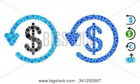 Refund Composition Of Small Circles In Different Sizes And Color Tinges, Based On Refund Icon. Vecto