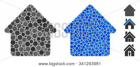 Cabin Composition Of Round Dots In Different Sizes And Color Tinges, Based On Cabin Icon. Vector Dot