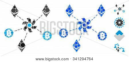 Cryptocurrency Mixer Rotor Mosaic Of Small Circles In Variable Sizes And Color Tinges, Based On Cryp